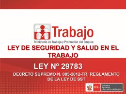 Ley 29783 Seguridad y Salud en el Trabajo