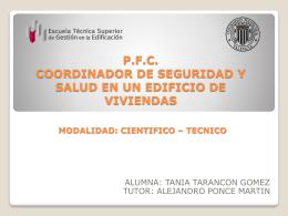 P.F.C. COORDINADOR DE SEGURIDAD Y SALUD EN UN …