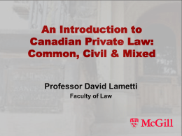 Intro to Canadian Private Law