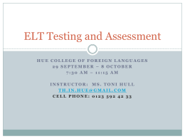 ELT Testing and Assessment