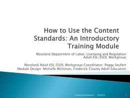 ESOL Content Standards - Welcome to the Maryland