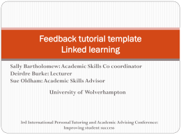 Feedback tutorial template Linked learning