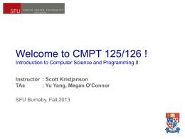Cmpt 125/126 Lecture Notes - wk01.1