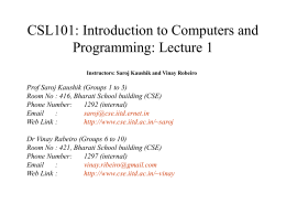 CSL101: Introduction to Computers and Programming: …