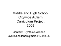 Middle and High School Citywide Autism Curriculum …