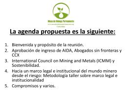 La agenda propuesta es la siguiente: