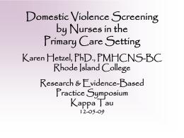 C-1:Domestic Violence Kappa Tau DV Presentation