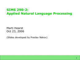 SIMS 290-2: Applied Natural Language Processing: …