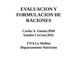 EVALUACION Y FORMULACION DE RACIONES Carlos A. …
