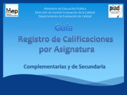 Registro de Calificaciones Secundaria y Complementarias …