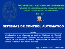 SISTEMAS DE CONTROL - Ing. Jorge Cosco Grimaney | …
