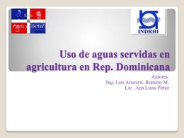 Uso de aguas servidas en agricultura en Rep. Dominicana