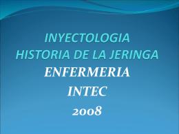 INYECTOLOGIA HISTORIA DE LA JERINGA