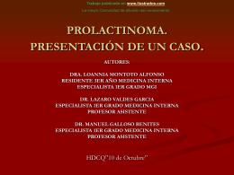 PROLACTINOMA. PRESENTACION DE UN CASO.