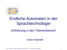 Hauptseminar Computerlinguistik: Endliche Automaten