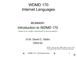 WDMD 170 Internet Languages - University of Wisconsin