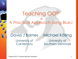Teaching Object-Oriented Programming