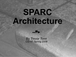SPARC Architecture - SJSU Computer Science Department