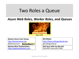 Boston Azure Firestarter – Bill Wilder – Roles and Queues
