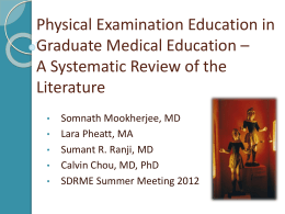 Physical Examination Education in Graduate Medical