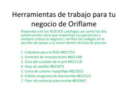Herramientas de trabajo para tu negocio de Oriflame