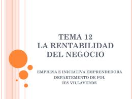 TEMA 5 LA RENTABILIDAD DEL NEGOCIO