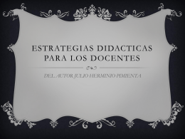 ESTRATEGIAS DIDACTICAS PARA LOS DOCENTES