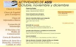ACTIVIDADES DE ASISI Octubre, noviembre y diciembre