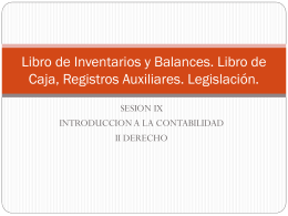 Libro de Inventarios y Balances. Libro de Caja, Registros