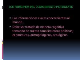 LOS PRINCIPIOS DEL CONOCIMIENTO PERTINENTE