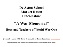 De Aston War Memorial - RootsWeb