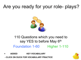 Are you ready for your role play?