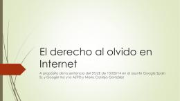 El derecho al olvido en Internet