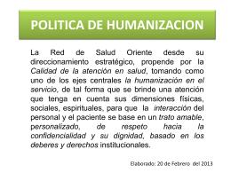 POLITICA DE HUMANIZACION
