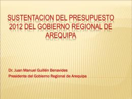 SUSTENTACION PRESUPUESTO 2012 DEL GOBIERNO …