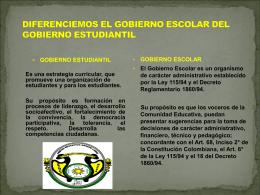 DIFERENCIEMOS EL GOBIERNO ESCOLAR DEL GOBIERNO …