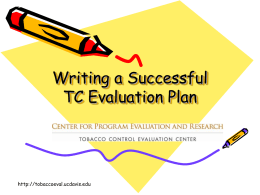 Writing a Successful Evaluation Plan