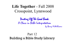 Building a Bible Study Library