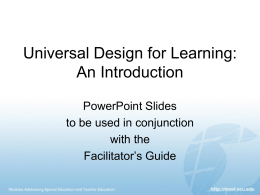 UDL intro module Metcalf - East Carolina University
