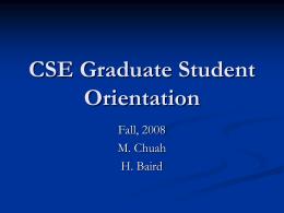 CSE Graduate Student Orientation
