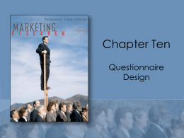 Chapter 10 Questionnaire Design
