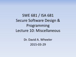 SWE 781 / ISA 681 Secure Software Design & Programming