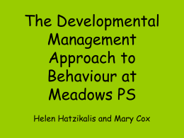 The Developmental Management Approach to Classroom …
