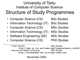 Inf and IT curricula 2008/2009