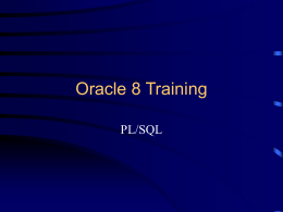 Oracle 8 Training