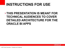 Oracle BI Applications Architecture Presentation