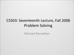 CS503: First Lecture, Fall 2008