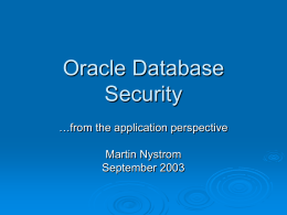 Oracle Database Security (from the Application Perspective