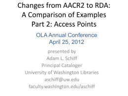 Changes from AACR2 to RDA - University of Washington