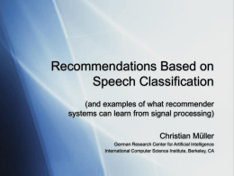 Recommendations Based on Speech Classification
